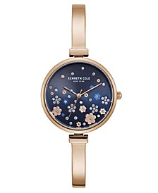 Women's Rose Gold Stainless Steel Half Bangle Watch, 32mm