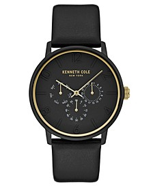 Men's Black Genuine Leather Strap Watch, 42mm