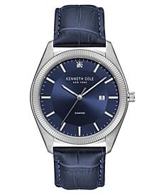 Men's Dark Blue Genuine Leather Strap Watch, 41mm