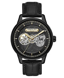 Men's Black Genuine Leather Strap Watch, 44.5mm