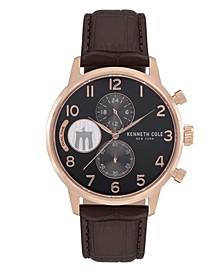 Men's Brown Genuine Leather Strap Watch, 44mm