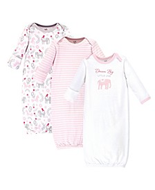 Baby Girl Organic Gowns 3 Pack