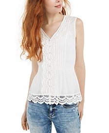 Juniors' Lace-Trim Blouse, Created For Macy's