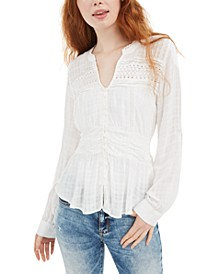 Juniors' Textured Lace-Trimmed Peplum Blouse, Created For Macy's