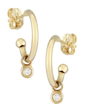 Diamond Accent Simple Hoop Drop in 14K Yellow Gold