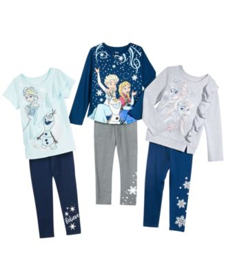 Little Girls 2-Pc. Elsa & Anna Top & Snowflake-Print Leggings Set