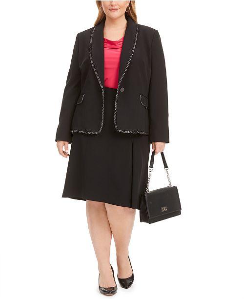 Kasper Plus Size Chain-Trim Blazer, Cowlneck Top & A-Line Skirt