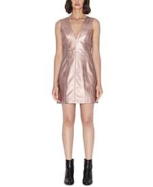 Metallic Faux Leather Sleeveless Dress