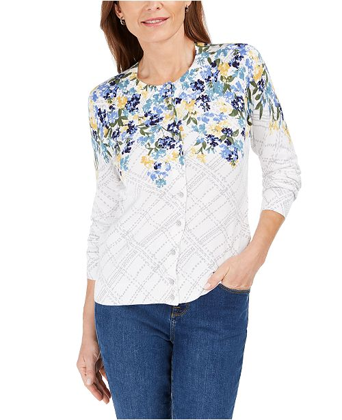 Karen Scott Petite Floral Print Cardigan Sweater, Created For Macy's