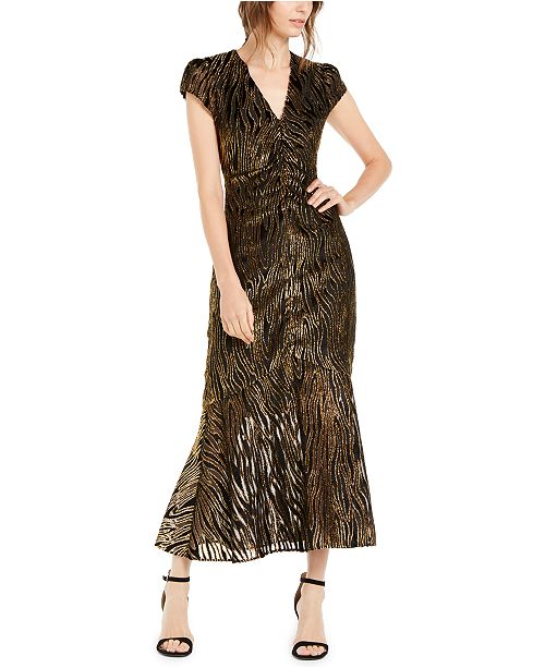 Rachel Zoe Goldie Metallic Tiger-Stripe Maxi Dress