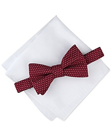 Men's Dot Pre-Tied Bow Tie & Solid Pocket Square Set, Created for Macy's