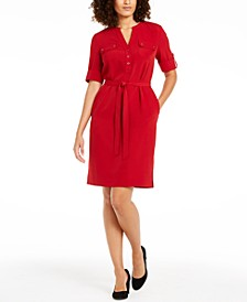 Split-Neck Belted Shirtdress