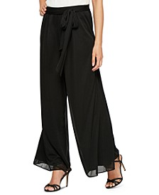 Petite Sash-Belt Wide-Leg Pants