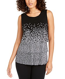 Petite Tiered Dot-Print Top, Created For Macy's