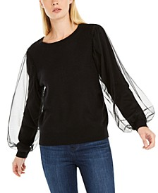 INC Tulle-Sleeve Sweater, Created for Macy's