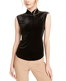 Velvet Mock-Neck Sleeveless Top