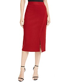 Faux-Wrap Pencil Skirt