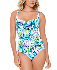 Swim Solutions Blue Palms Printed Shirred Tummy Control One-Piece Swimsuit, Created for Macy's