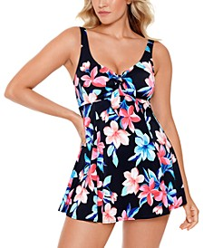 Lanai Printed Bow-Front Tummy Control Swimdress, Created for Macy's