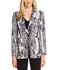 Snake-Embossed Notch-Collar Jacket