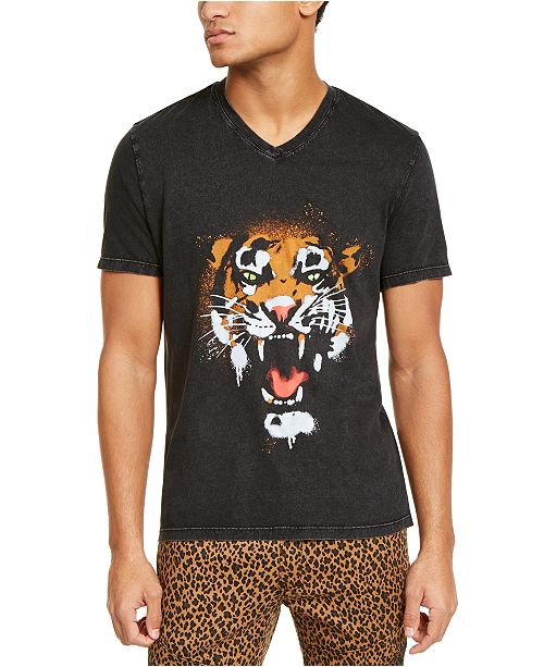INC International Concepts INC Men's Graffiti Tiger Graphic V-Neck T-Shirt, Created For Macy's