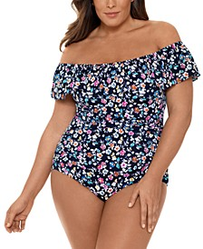Plus Size Daisy Printed Off-The-Shoulder Tummy Control One-Piece Swimsuit, Created for Macy's