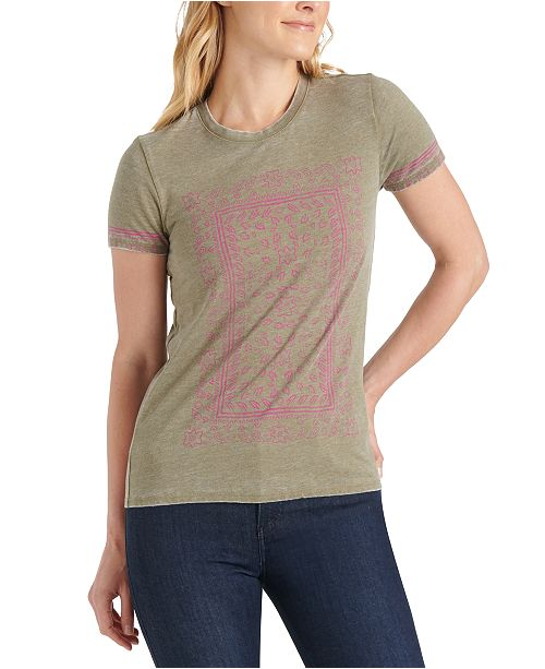 Lucky Brand Paisley Frame Graphic T-Shirt