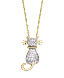 Diamond 1/4 ct. t.w. Cat Pendant Necklace in 14K Gold over Sterling Silver