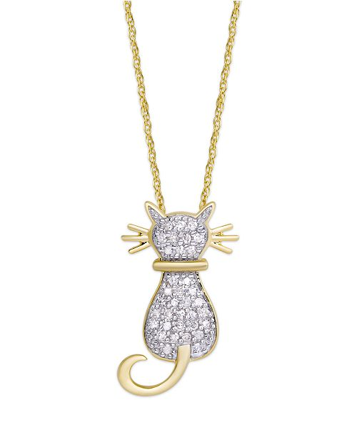 Macy's Diamond 1/4 ct. t.w. Cat Pendant Necklace in 14K Gold over Sterling Silver