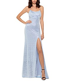 Icy Sequined Slit Gown