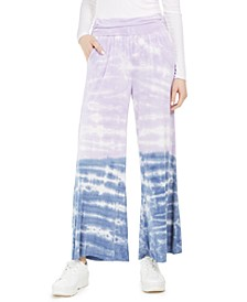 Juniors' Tie-Dyed Wide-Leg Pants