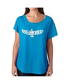Women's Dolman Cut Word Art Shirt - Wild and Free Eagle