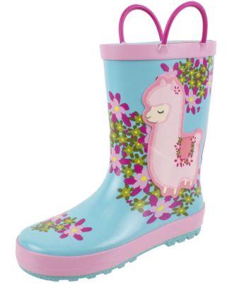 Kids Girls Hello Kitty Printed Waterproof Easy-On Rubber Rain Boots Toddler//Little Kid