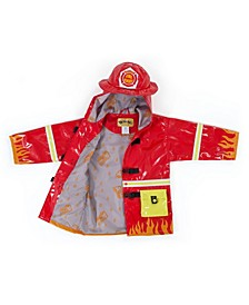 Little and Big Boy with Comfy Fireman Raincoat