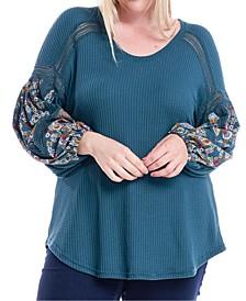 Plus Size Waffle-Knit Chiffon-Sleeve Top