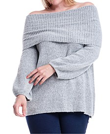 Plus Size Cowlneck Off-The-Shoulder Sweater