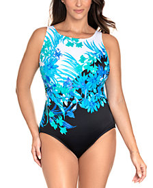 Swim Solutions Longitude Scenic Route Printed Long Torso Tummy Control One-Piece Swimsuit, Created for Macy's