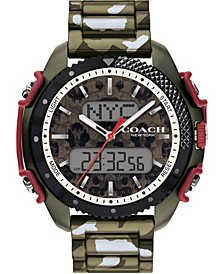 Men's Analog-Digital C001 Olive Camo Stainless Steel Bracelet Watch 46mm, A Limited Edition
