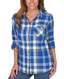 UG Apparel Women's Kentucky Wildcats Flannel Boyfriend Plaid Button Up Shirt
