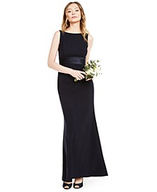 Crepe Satin-Waist Gown