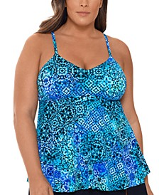 Plus Size Santorini Printed Underwire Tankini Top, Created for Macy's