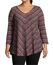 Plus Size Mitered-Striped Top