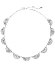 "Silver-Tone Pavé Stone Half-Circle Collar Necklace, 14"" + 3"" extender"