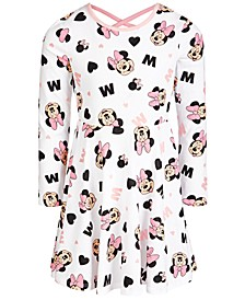 Little Girls Minnie Mouse Printed Skater Dress