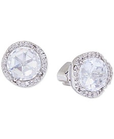 Silver-Tone Pavé & Large Crystal Round Stud Earrings