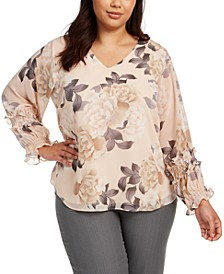 Plus Size Printed Smocked-Sleeve Top