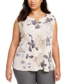 Plus Size Sleeveless Floral-Print Top