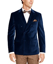 Men's Slim-Fit Velvet Double-Breasted Sport Coat, Created For Macy's