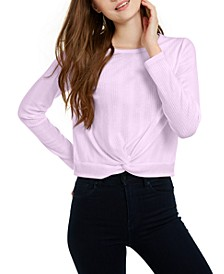 Juniors' Twisted Waffle-Knit Top