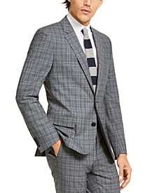 Men's Slim-Fit Stretch Charcoal Plaid Suit Jacket